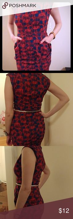 """Dress with Pockets (Brand New) Red and blue abstract print mini dress. Has two front pockets. Can be worn with or without silver belt. Makes your butt look good. Model is 5'10"""". *SMOKE FREE/PET FREE* Lipslide Dresses Mini"""