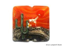 Grace Lampwork Bead SRA  11839404 - Cactus Sunset Pillow Focal Bead #GraceLampworkBeads