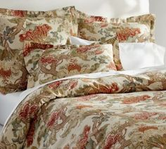 POTTERY-BARN-GRACIELA-PALAMPORE-FULL-QUEEN-DUVET-1-STD-SHAM-NEW-RED-FLORAL