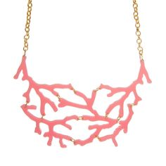 A super cute collection of laser cut bubblegum pink coral charms, interlinked and hanging from a chunky plated chain. Perfect for any land-locked mermaids! Coral Earrings, Gold Necklace, Metal Jewelry, Unique Jewelry, Laser Cut Jewelry, Pink Acrylics, Laser Cut Acrylic, Bubblegum Pink, Pink Candy