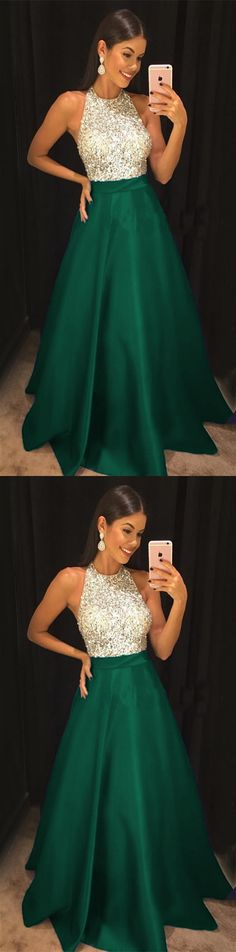 Sparkly Sequins Beaded Halter Long Satin Prom Dresses 2018 Formal Evening Gowns