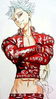 Ban e Elaine Shippo Seven Deadly Sins Anime, 7 Deadly Sins, I Love Anime, Anime Guys, Manga Anime, Anime Art, Ban And Elaine, Chibi, Kamigami No Asobi