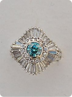 Blue diamond Ballerina Ring 18k White gold