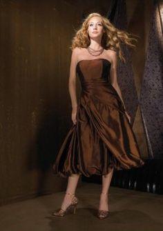 marrone abiti da damigella senza spalline