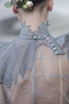 Dusky blue, sheer panel, gorgeous Julien Fournie design  #fashion #designer #runway