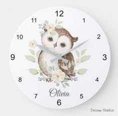 Owl Nursery Clock Personalized Baby Girl Watercolor Woodland Animals Floral Room Decor Baby Wall Decor, Woodland Animal Nursery, Baby Girl Nursery Decor, Woodland Animals, Elephant Wall Art, Elephant Nursery, Baby Girl Wallpaper, Floral Room, Baby Owls