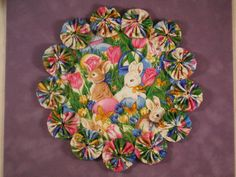 Easter Egg Spring Tulip Bunny Rabbit Yo Yo Doilypenny by SursyShop, $8.00