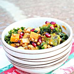 Garlic Roasted Butternut Squash & Kale Wheatberry Salad w/ Pomegranate (all of my favs)...fiber packed!