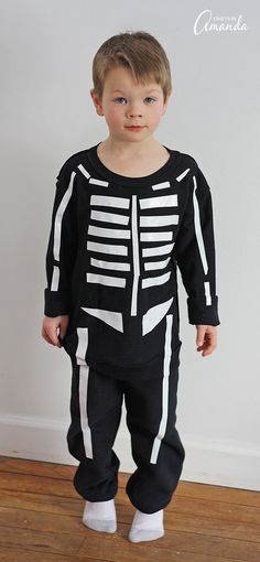 Tutorial 30-minute skeleton costume, no sewing required DIY no sew - super easy halloween costume ideas