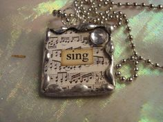 SING  Soldered Art Glass Pendant Necklace by victoriacharlotte, $10.00