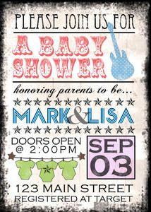 Custom Concert Rock Star Baby Shower or Birthday Party Invitations Boy or Girl | eBay