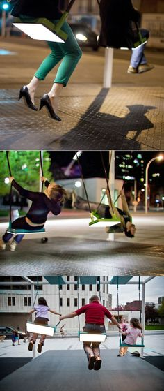 Great creative initiative in Montreal. 21 swings brought the urban playground to Montreal with pre-recorded sounds from musical instruments programmed into each swing. Cooperation between people on the swings could produce cohesive melodies. Installation Interactive, Interactive Art, Installation Art, Art Installations, Of Montreal, Montreal Canada, Montreal Travel, Ex Machina, Urban Furniture