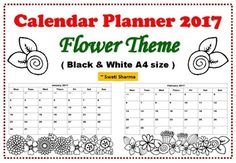 Calendar Planner 2017 Flower Theme has 12 months of A4 size printable calendars.Children will love to color them and can use them tofill in birthdaysimportant daysoutingswords they learn in that monthfestivals around the world and many more ideas that creative teachers like you can think of :)Thankyou