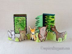Oops, I Craft My Pants matchbox with awesome fold-out animals...cute on one side, sinister and creepy on the other!  So funny and wonderful!