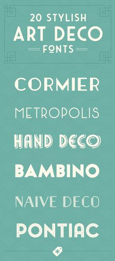 These 20 Art Deco fonts can bring a bit of glitz and glamour to your next design project. You can find even more creative Art Deco fonts here! Art Deco Typography, Art Deco Font, Art Deco Stil, Typography Alphabet, Font Art, Typography Layout, Modern Art Deco, Creative Typography, Art Deco Design