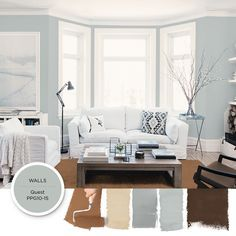 Light gray-blue paint color Quest by PPG is featured in this modern, airy living room. This space is both stable and grounded yet open and airy. This southwestern palette combines ranch house and seaside hues together into a single harmony, creating a spirit that is both stable and grounded yet open and airy. Get these paint colors tinted in PPG PITTSBURGH PAINTS®, PPG PORTER PAINTS® & or PPG PAINTS™ products.