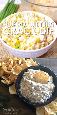 """This dip is deliciously addictive! Creamy dip with a little bit of heat from the jalapeños, bursting with flavor from the MexiCorn and the green onions. This is a hit and the first thing gone at every party -- It isn't """"award winning"""" for nothing! Best Dip Recipes, Corn Dip Recipes, Mexican Food Recipes, Favorite Recipes, Bacon Recipes, Easter Recipes, Crack Corn Dip Recipe, Game Day Recipes, Healthy Dip Recipes"""