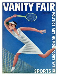 Vanity Fair Cover - August 1932 Poster Print  by Miguel Covarrubias at the Condé Nast Collection: Miguel Covarrubias depicts the tennis great Helen Wills hitting a fierce return over the net. The youngest ever women's singles champion, Wills won every set she played in competition from 1927 to 1933. The illustration appeared on the August 1932 cover of Vanity Fair magazine. $125.00 Fair Covers, Fair 1932, Vanities Fair, Vanity Fair, August 1932, Covarrubias August, Magazines Covers, Fair August, Miguel Covarrubias