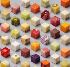 Lernert & Sander - Cubes: meticulously cut cubes of unprocessed food, ranging from raw tuna to dragon fruit Photography Projects, Food Photography, Isometric Cube, Queso Cheddar, Extreme Food, Journal Du Design, Unprocessed Food, Oddly Satisfying, Food Design