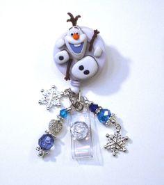 Olaf In Parts Frozen Disney Retractable Reel ID Badge Holder Swivel Lanyard