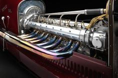 The 1924 Miller is a board track racing car with an eight-cylinder in-line engine, 100 inch wheelbase, and weight of pounds. Hemi Engine, Motor Engine, Car Engine, Steam Engine, Motorcycle Engine, Karting, Engine Types, Indy Cars, Electric Motor