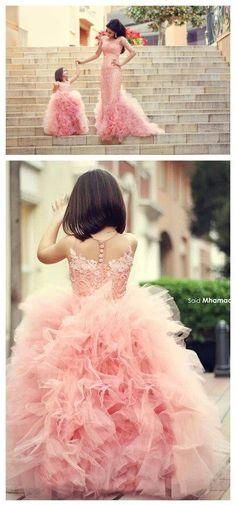 2015 New Mother And Daughter Girls Pageant Evening Dresses Pink Lace Ruffles Long Sleeves Mermaid Prom Dresses For Ball Party