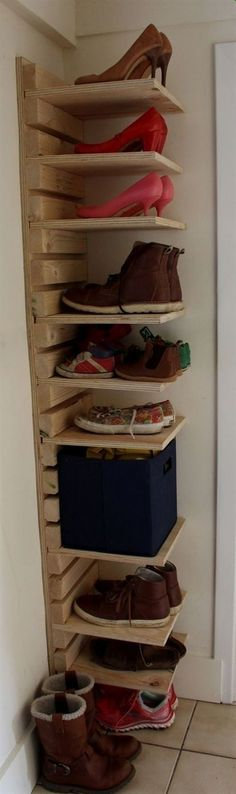 Adjustable wooden shoe rack Made to order 10 Shelf and 22 slat adjustable shoe rack made from heavy duty plywood and spruce. Height / width / shelf depth / total depth Shoe rack delivered with a plain wood finish and not pre drilled unless requested. Diy Projects Plans, Woodworking Projects Diy, Home Projects, Woodworking Plans, Project Ideas, Woodworking Furniture, Woodworking Videos, Woodworking Equipment, Learn Woodworking