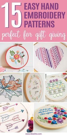 We've found these 15 easy hand embroidery patterns that are not only great for beginners, they're also perfect for gift giving. We've found these 15 easy hand embroidery patterns that are not only great for beginners, they're also perfect for gift giving. Learn Embroidery, Hand Embroidery Stitches, Embroidery Hoop Art, Crewel Embroidery, Hand Embroidery Designs, Embroidery Techniques, Ribbon Embroidery, Cross Stitch Embroidery, Embroidery Ideas