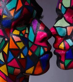 Stained Glass Faces...My daughter had that same pattern in her shirt years ago.