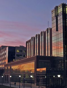 Sunset reflects on Engineering Hall's south facade at Marquette University.