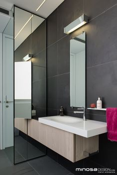 Mirror lights?  Innovative use of space creates a seamless bathroom design solution | Home Adore