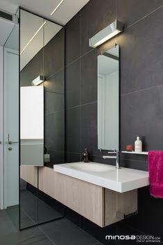Mirror lights?  Innovative use of space creates a seamless bathroom design solution   Home Adore