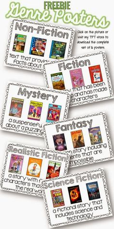 classroom library…with pics! Plus, FREE Genre Posters from Having Class in Third Grade Library Lessons, Reading Lessons, Reading Skills, Teaching Reading, Genre Lessons, Library Ideas, Library Skills, Guided Reading, Teaching Genre