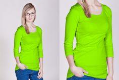 Dámské dlouhé neonové tričko s 3/4 rukávem ve 3 neonových barvách