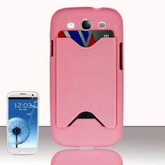 $11.99 for #Samsung Galaxy #S3 #i9300 Hard Back Cover #Case - Light Pink Card Wallet Texture from #Acetag with Free Shipping in the US and Canada.