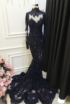 High Collar Black Lace Prom Dress Long Sleeves