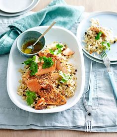 Ocean trout with lemon-cardamom rice recipe :: Gourmet Traveller