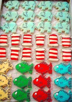 Dr. Suess ideas for an upcoming baby shower I will be doing cookies for.