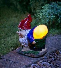 Garden Gnome Ornament Funny Joke Mooning Lights Up Solar Power 3 Colours