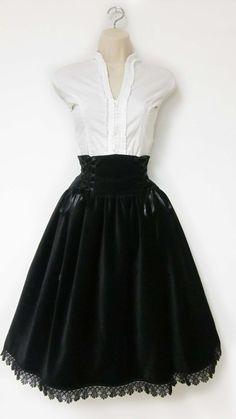 Medium Lolita Skirt Black Velveteen Highwaisted by NemethWild, $85.00