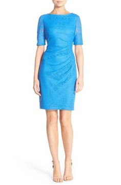 London Times Ruched Lace Sheath Dress