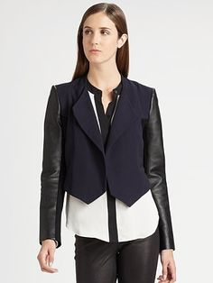 Theory Cohen Leather-Sleeve Blazer - Saks Fifth Avenue