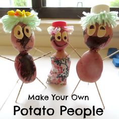 Make Your Own Potato People - Octavia & Vicky Projects For Kids, Crafts For Kids, Diy Crafts, Fun Learning, Teaching Kids, Potato People, Make Your Own, How To Make, Toddler Crafts