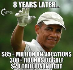 this is his Legacy!!! wow and his followers think this is ok.... and that he Helped America??!! WE paid 85 million for vacations and I can't even afford to take One vacation!!
