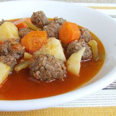 Meatballs Stew With Vegetables | giverecipe.com | #meatballs #stew #potato