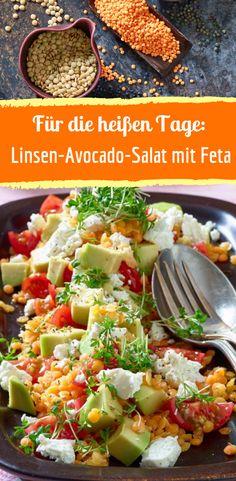 Recipe for lentil avocado salad with feta - Rezept für Linsen-Avocado-Salat mit Feta healthy - Salad Recipes Healthy Lunch, Salad Recipes For Dinner, Chicken Salad Recipes, Easy Salads, Easy Healthy Recipes, Lentil Recipes, Vegetarian Recipes, Feta Salat, Couscous Salat