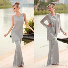 Joan R谋vers Pants Mother Of Bride 2015 New Arrival Jewel Neckline Silver Gray Chiffon Summer Beach Mother Of The Bride Pant Suits Joan Rivers Malpractice Suit From Garmentfactory, $115.19| Dhgate.Com