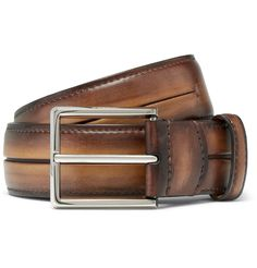 Make an investment in timeless style with this <a href='http://www.mrporter.com/mens/Designers/Berluti'>Berluti</a> belt. Cut in Italy from the label's rich Venezia leather in a tobacco-brown hue, it has been hand-polished for a special patina that will only improve with age. The silver buckle adds a fine accent and is discreetly engraved with the brand's moniker.