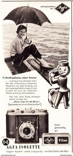Werbung - Original-Werbung/ Anzeige 1955 - AGFA ISOLETTE KAMERA - ca. 115 x 240 mm