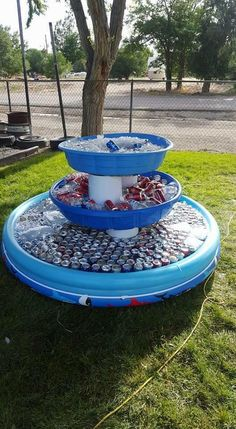 Drink cooler using multiple size plastic pools